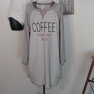 "Sleep Chic Size Large Pajama Dress ""Coffee made me"